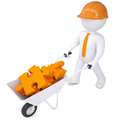 D man in helmet carry in wheelbarrow clay puzzles white a a render on a white background Royalty Free Stock Photo