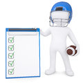 D man in helmet holding ball and checklist white football isolated render on a white background Royalty Free Stock Images