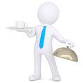 3d man holding a coffee cup on a platter Royalty Free Stock Photo