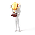 3d man holding a gold trophy cup Royalty Free Stock Photo