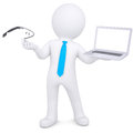 D man holding a laptop and google glass isolated render on white background Royalty Free Stock Photography