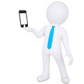 D man holding smartphone white a isolated render on a white background Stock Photo