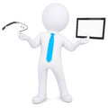 D man holding a tablet pc and google glass isolated render on white background Royalty Free Stock Image