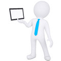 D man holding tablet pc white a isolated render on a white background Stock Images