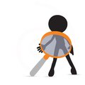 D man in investigate pose eps vector Stock Photo