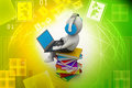 D man and laptop with books in color background Royalty Free Stock Image