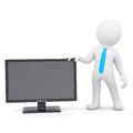D man and the monitor white isolated render on a white background Royalty Free Stock Photos