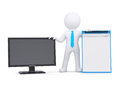 D man and the monitor white isolated render on a white background Royalty Free Stock Image