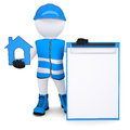 D man in overalls with house ico white isolated render on a white background Royalty Free Stock Images