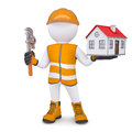 D man in overalls with wrench and house isolated render on a white background Royalty Free Stock Photos