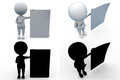 D man with paper concept collections with alpha and shadow channel included in Stock Photos