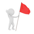 3d man with red flag Royalty Free Stock Photo