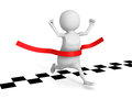 3d man running cross finish line. success winning of human race Royalty Free Stock Photo