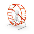 D man running in the hamster wheel d rendering Stock Photos