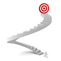 D man running to the target on top of the stairs over white background Royalty Free Stock Image