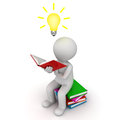 D man sitting and reading book with idea bulb over white background Stock Photo