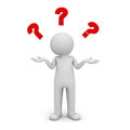 D man standing and having no idea with red question marks above his head over white background Stock Photography