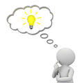 D man thinking with idea bulb in thought bubble above his head over white background Royalty Free Stock Photo