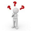Trojrozměrný muž přemýšlení otázka značky