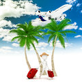 D man tourist and plane vacation metaphor Stock Images