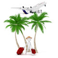 D man tourist and plane vacation metaphor Royalty Free Stock Photos