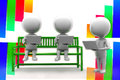 D man using laptop sitting on bench illustration colorful background front angle view Stock Photography