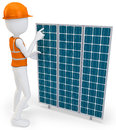 D man worker with solar panel on white background Royalty Free Stock Images