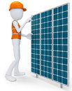 D man worker with solar panel on white background Stock Image