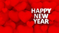 D many hearts overlap happy new year text multiple red with Royalty Free Stock Image