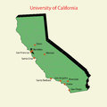 D map of university of california campuses davis san franciso berkeley santa cruz merced santa barbara los angeles irvine Stock Images