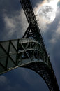 D maria full moon view of gustave eiffel project old bridge in porto portugal world cultural heritage by unesco in Stock Images