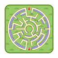 3d maze game top view, circle shaped, green grass background Royalty Free Stock Photo
