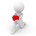 D mens die neer op één knie worden en hart geven Royalty-vrije Stock Afbeeldingen