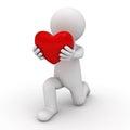 D mens die neer op één knie worden en hart geven aan u Royalty-vrije Stock Afbeelding
