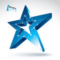 3d mesh blue star sign on white background