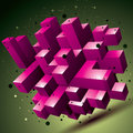3D mesh contemporary style abstract colorful object, origami