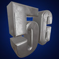 stock image of  3D metal 5G icon on blue