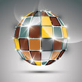 3D metal gold futuristic globe created from geometric element.