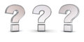 3d metallic chrome question mark with three different view angles isolated on white Royalty Free Stock Photo