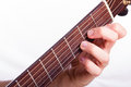 D minor chord performed on acoustic guitar Royalty Free Stock Photos