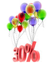 D model thirty percent discount of of the flies on the balloons Stock Photos