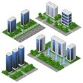 3d modern City building. Isometric eco city modules isolated with office buildings, houses, streets and park area with trees and Royalty Free Stock Photo