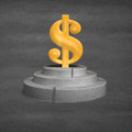 D money symbol on concrete podium with wooden ladders Royalty Free Stock Photo