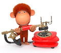 D monkey with phone the primacy calls friends to invite them on a visit Stock Photos