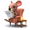D mouse breakfast render of a reading the papers Royalty Free Stock Photo