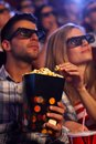 3D movie and popcorn Royalty Free Stock Photo