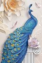 3d mural background blue peacock on branch wallpaper . with flowers Royalty Free Stock Photo