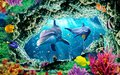 3d mural illustration wallpaper under sea dolphin, Fish, Tortoise, Coral reefsand water with broken wall bricks background Royalty Free Stock Photo