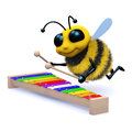 D musical bee render of a playing a xylophone Stock Image