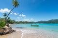 łódź na turkusowym morzu karaibskim playa rincon republika dominikańska wakacje wakacje drzewka palmowe plaża Zdjęcia Stock